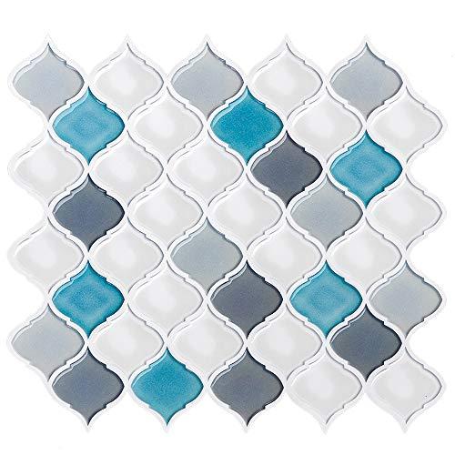 Fliesenaufkleber, 3D Wandaufkleber Fliesen Backsplash Wandaufkleber Selbstklebende Fliesendekor für Küche / Bad, 11'x 10' (A10-4 Blatt)