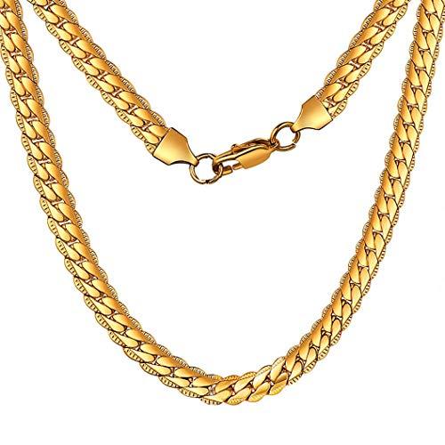 Miami Cuban Mens Collana Catena 6mm 20'Collane in Acciaio Inossidabile Color Oro per Gioielli Moda Uomo