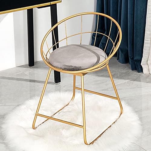 Silla de comedor franela esponja cojín marco de metal altura 45cm silla de café estilo nórdico silla de maquillaje respaldo silla de mesa
