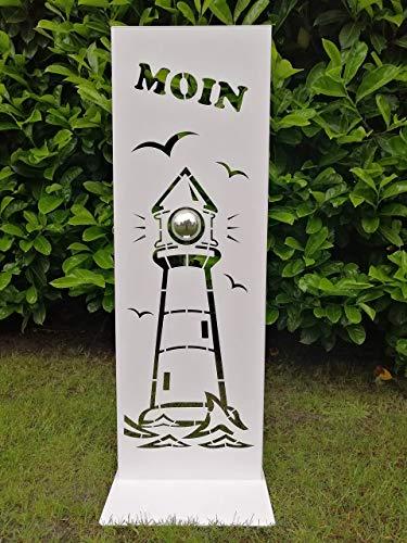 """Gartendeko Fockbek Metallschild Schild mit Standfuß Stele\"""" Leuchtturm MOIN\"""" weiß Höhe ca. 80 cm Deko Eingangsbereich"""