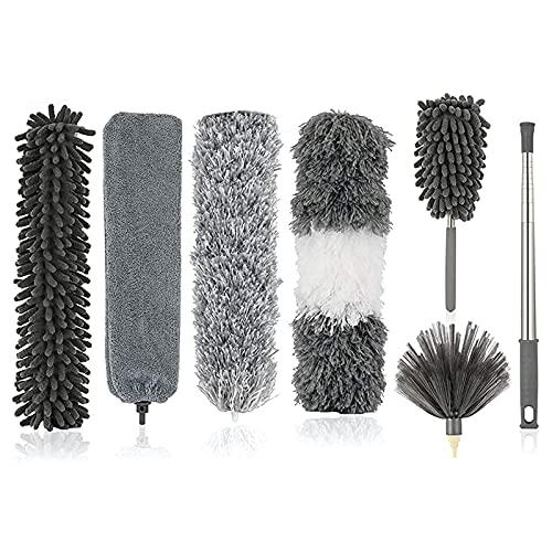 Kit de limpieza de plumero, plumero de microfibra con poste de extensión, kit de limpieza de la casa, plumeros de telarañas flexibles reutilizables, para limpiar ventiladores de techo, automóviles, co