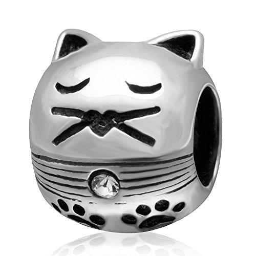 Katten Bedels Echt 925 Sterling Zilver Kat met Pawprint Bedel Dieren Kralen Bedel geschikt voor Euroepan Bedels Armbanden