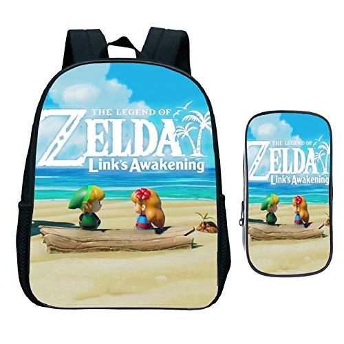 Sonic Cartoon Pack The Legend of Zelda 2 unidades/Set Mochila Estuche de lápices Enlace Despertar Estudiante Bolsas Escolares para Niñas Niños Diario Niños Libro Bolsa