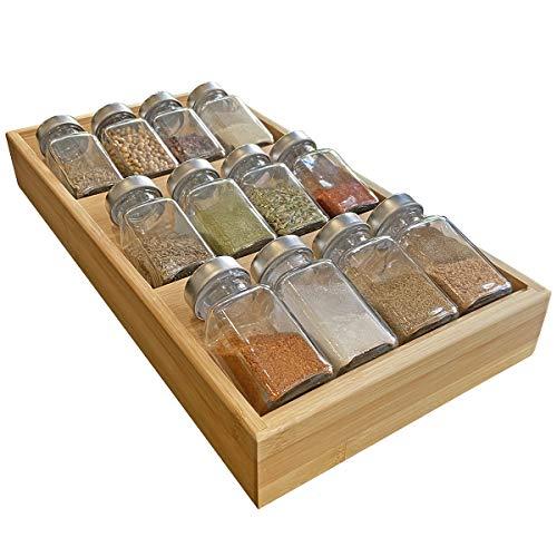 Simhoo Bambus-Gewürzregal in der Schublade für 12 Gewürzflaschen, 3-stöckiger Einsatz