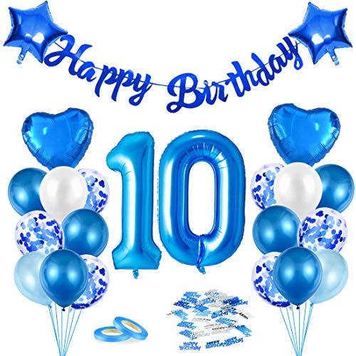 Globos de Cumpleãnos 10 Azul, 10er Cumpleaños Globos Niño, Feliz Cumpleaños Decoración Globos 10 Años, Confeti y Globos de Aluminio, Látex Globos Fiesta Party Decoración