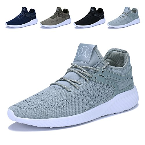 Caitin Mens Casual Walking Shoes Lightweight Breathable Running Tennis Sneakers Grey