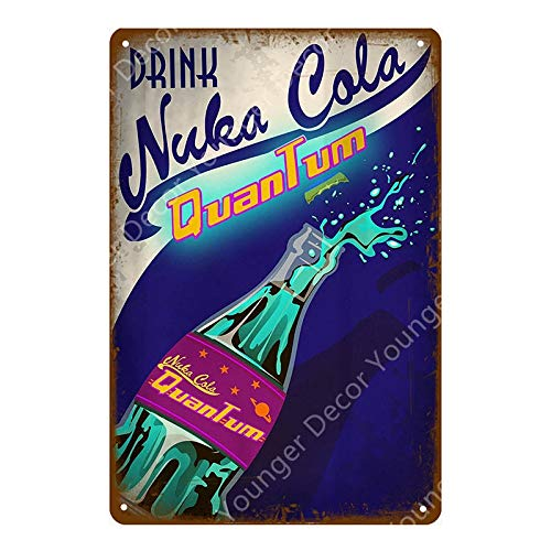 Nuka Cola Quantum Poster Fallout 3 4 Game Metal Signs Wall Plaque Decor for Home Room Shop Hotel Iron Painting Yi-111 20x30cm YD5133AI
