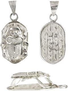 Escarabajo Egipcio de Plata para Colgar. Amuleto para la Buena Suerte. Mide 27 * 13 mm Aprox.