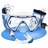 Calopero   Set da snorkeling premium per bambini, maschera da immersione, maschera per bambini e sacchetto a rete, colore: blu