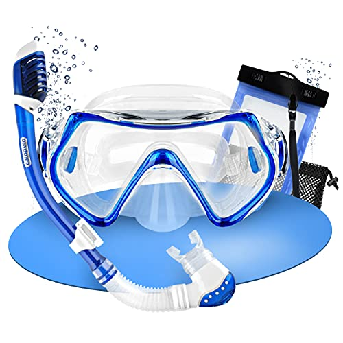 Calopero | Premium Schnorchelset Kinder – wasserdichte Taucherbrille Kinder – Inkl. Schnorchel für Kinder, Kindertauchmaske und Netzbeutel - Blau