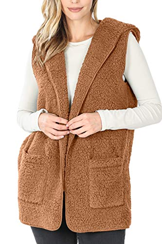 LE3NO Womens Oversized Faux Fur Sherpa Sleeveless Open Front Hooded Vest with Pockets, CAMEL, Small