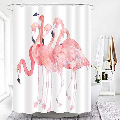 TopTree Shower Curtain, Anti-Mould Shower Curtain Made from Polyester, Water-Resistant, Anti-Bacterial with 12 Shower Curtain Rings Tier, 180x180cm