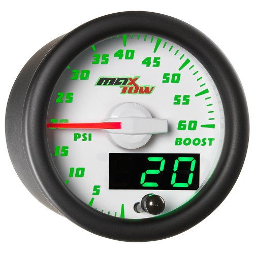 MaxTow Double Vision 60 PSI Turbo Boost Gauge Kit - Includes Electronic Pressure Sensor - White Gauge Face - Green LED Illuminated Dial - Analog & Digital Readouts - for Diesel Trucks - 2-1/16' 52mm