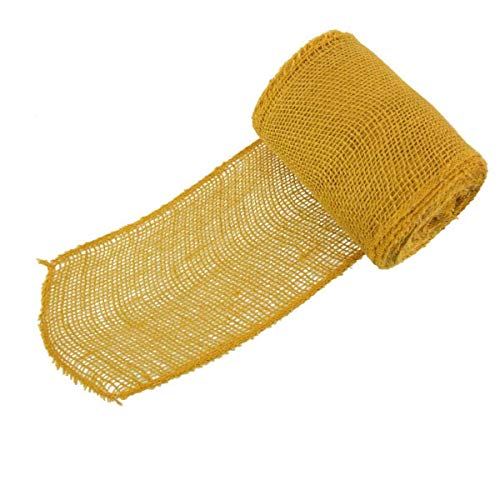 """BambooMN 5.5"""" Inch Wide Color Burlap Fabric Jute Craft Ribbon Roll, 1 Roll of 10 Yards, Yellow"""