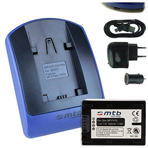 Batteria + Caricabatteria (USB/Auto/Corrente) compatibile con Sony NP-FV70 / DEV-30, 50V. / HDR-CX740, CX900./PJ410 PJ620. / FDR-AX33. / NEX-VG. v. lista!