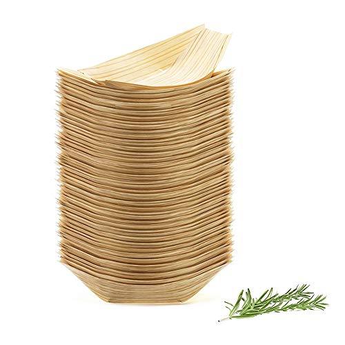 100Pcs Barcos de Madera de Bambú para Llos Alimentos del Partido Bocados Picar Canape Aproximadamente Ecológicos Biodegradables 115X75mm
