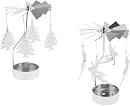 MagiDeal 2pack Christmas Decor Candle Spinner, Rotating Tea Light Candle Holder, Silver Tree+ Elf Charms