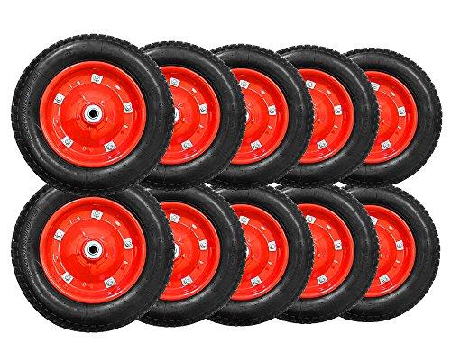 ミナトワークス 一輪車用 空気入りタイヤ (10本セット/赤/13インチ/替えシャフト付き) MW-13x3.25A
