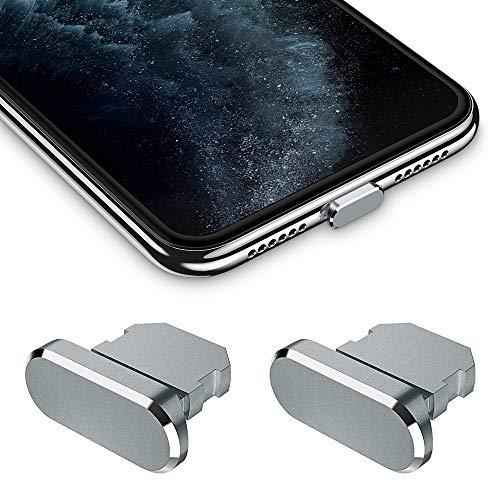 iMangoo Tapones Antipolvo 2 Unidades Puerto de Carga Plug con Funda de Transporte Compatible con iPhone X iPhone XS MAX iPhone XR iPhone 7 8 Plus iPad para Proteger Puerto de Carga Gris