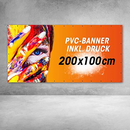 PVC Frontlit Banner, Werbebanner, Banner bedruckt mit Ihrem Motiv (510g/m²) inkl. Saum & Ösen alle 50 cm   Robust und reißfest - UV-beständig und wetterfest (200cm x 100cm)