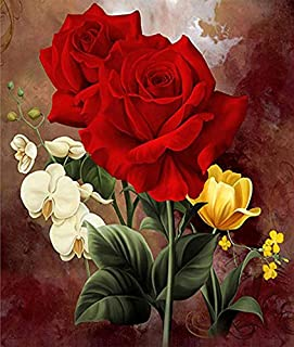 Holly LifePro DIY 5D Diamond Painting Kits for Adults, Full Drill Red White Yellow Rose Crystal Rhinestone Embroidery Pict...
