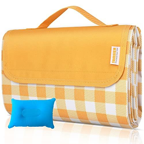 SAMSIER Große Picknick-Decken, wasserdicht, faltbar, waschbar mit Kissen, tragbar, für den Außenbereich, Camping-Decke, 152,4 x 202,3 cm, Gelb und Weiß