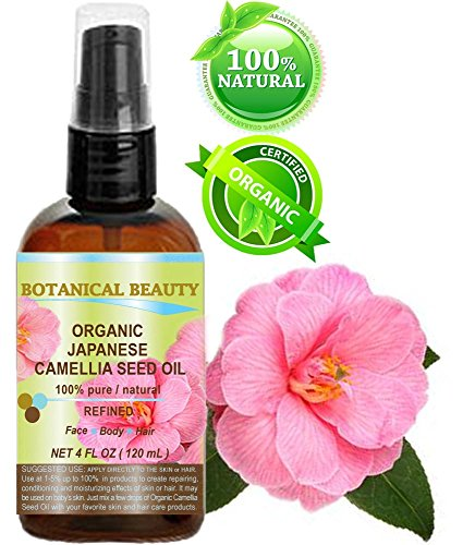Japanese ORGANIC CAMELLIA Seed Oil. 100% Pure/Natural/Undiluted/Refined/Cold Pressed Carrier Oil. Rich antioxidant to revitalize and rejuvenate the hair, skin and nails. 4 Fl.oz-120 ml.
