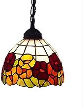 """MEIFENG Vintage Morning Glory Chandelier 8"""" Red Art Glass Ceiling Pendant Light Handmade E27 Home Lighting Fixture"""