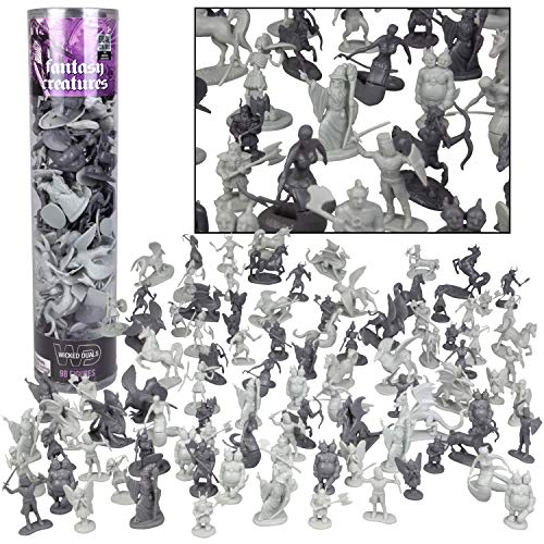 SCS Direct Fantasy Creature Mini Action Figure Playset-76pc Monster Toy Miniatures w 14 Unique Sculpts - Dragons, Wizards, Orcs, and More- XL 1/32nd Scale Character Accessories