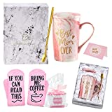 JOEVOLYS Birthday Gifts for Mom,Best Mom Ever Coffee Mug,Funny Mom Gifts from Daughters Sons,14 OZ Marble Ceramic Coffee Cup Set(Pink)