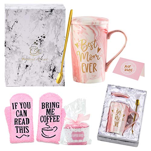 Birthday Gifts for Mom, Best Mom Ever Coffee Mug, Funny Mom Gifts from Daughters Sons, 14 OZ Marble Ceramic Coffee Cup Set