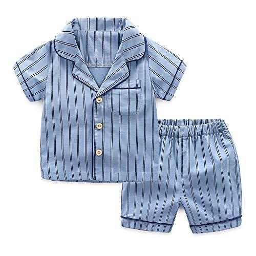 YHXG Boys' Pajama Sets Summer Sleepwear Striped Shirts+ Shorts Blue