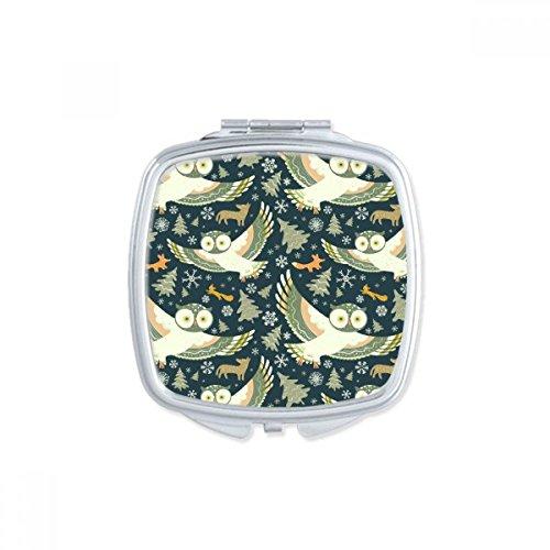 Mooie Vogels Uilen Donker Bloemen Patronen Vierkant Compact Make-up Pocket Spiegel Draagbare Leuke Kleine Hand Spiegels Gift