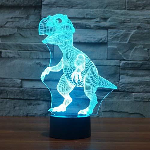 3D illusie nachtlampje dinosaurus, 7 kleurwisselingen, touch-schakelaar, tafeldecoratie, LED-lamp met afstandsbediening voor kinderen, verjaardagscadeau, kerstcadeau met basis