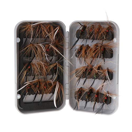 lpyfgtp 32 Unidades por Caja de Moscas de Pesca con Plumas de salmón para Insectos Secos, Trucha, ninfas