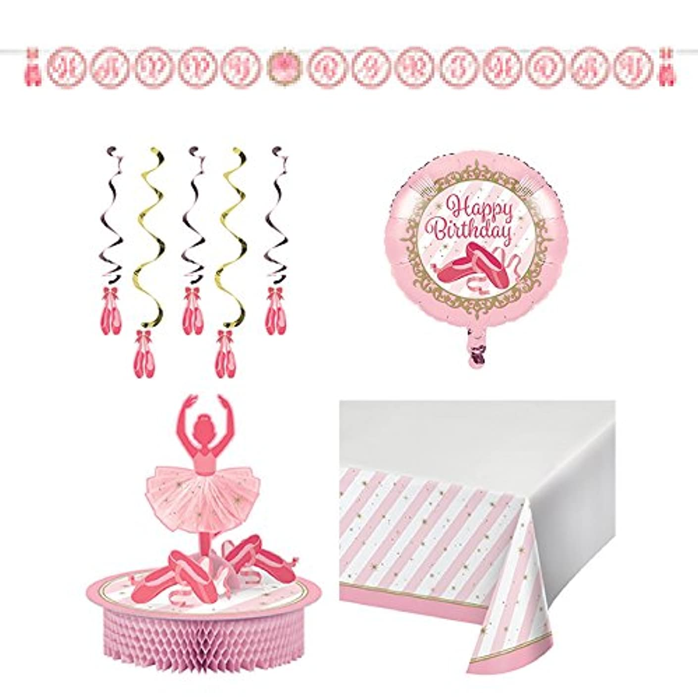 Twinkle Toes Party Decorations Pack (1 Twinkle Toes Banner, 1 Twinkle Toes Set of Swirls, 1 Twinkle Toes Foil Balloon, 1 Twinkle Toes Centerpiece, 1 Twinkle Toes Table Cover)
