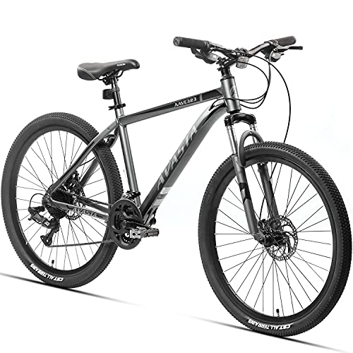 AVASTA Adult Mountain Bike 21-Speeds 26-Inch Wheels for Men and Wowen, Aluminum Frame Disc Brakes Mountain Bicycle, Front Suspension,Grey