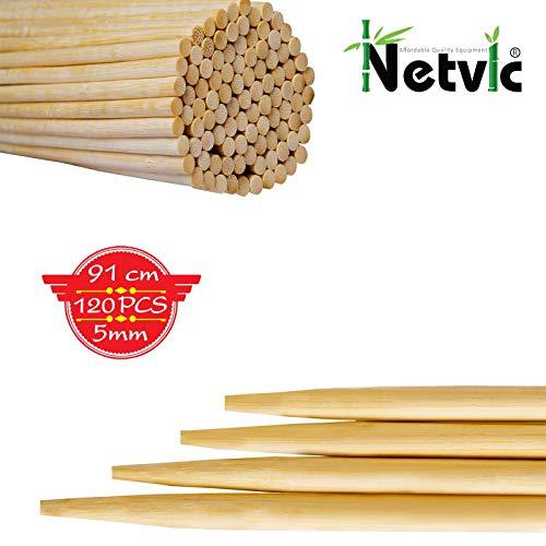 Netvic Lot de 100 bâtons en Bambou épais, Extra Longs et Ultra résistants pour brochettes et Guimauve 100 % biodégradables 91 cm x 5 mm