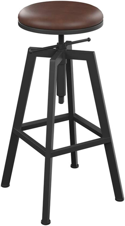 Jiu Si- Bar Stool Wrought Iron High Stool Solid Wood Bar Stool Round redating Lift Bar Chair bar Chair (color   B)