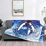 Sword Art Online Kirigaya Kazuto Manta de forro polar ultra suave acogedora alfombra de felpa sofá cama sofá cama alfombra cálida de microfibra para todas las estaciones 50 pulgadas x 40 pulgadas