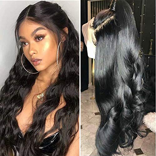 Maxine Unprocessed 360 Lace Frontal Wigs Pre Plucked with Baby Hair Brazilian Body Wave Human Hair Wigs for Black Women 18 inch 10A Brazilian Virgin Hair Glueless Wigs Natural Balck Color