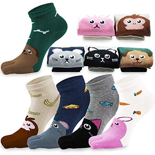 REKYO 5 Paar Zehen Socken Baumwolle Kinder fünf Finger Socken niedlichen Cartoon Tiermuster Socken für jungen Mädchen 3-12 Jahre (Tier, 7-12 Jahre)