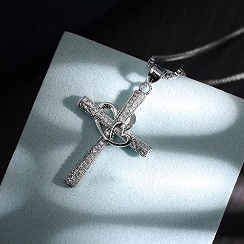 FISH4 Collar Cruzado de Cristal Brillante clásico Retro para Mujer Moda Zirconia cúbica Cruz Gargantilla Colgantes Mujer Religiosa Jesús Jewelry-11, China, 50cm