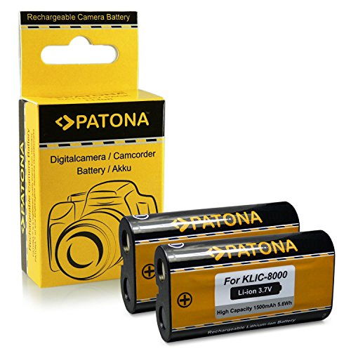 2x Bateria Kodak Klic-8000 / Ricoh DB-50 para Kodak EasyShare Z612   Z712is   Z812is   Z8612is   Z1012   Z1012is   Z1015is   Z1085is   Z1485is   Z8612is   Zx1   RICOH Caplio R1   R1S