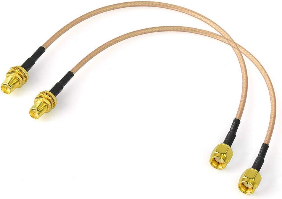 Bingfu Cable Antena WiFi RP-SMA Macho a Hembra Cable Alargador Antena WiFi Montaje en Mamparo Cable Coaxial 60cm (2-Paquete) para PCI Express PCIE ...