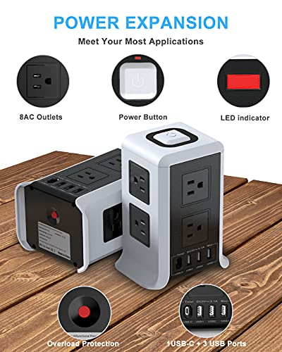 Power Strip with USB C Power Strip Surge Protector Tower 8 Outlet 4 USB Ports ( 1 USB C Outlet) Charging Station Power Strip with 6.56 FT Long Cord for Home, Office, Travel