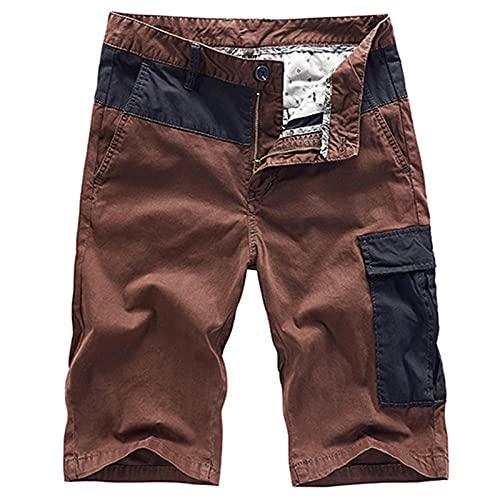 2021 Hombres Patchwork Verano hasta la Rodilla Pantalones Cortos de Carga de algodón Hombre CasualSlim Fit Pantalones Cortos Finos de Gran tamaño Outwear-Coffee_36