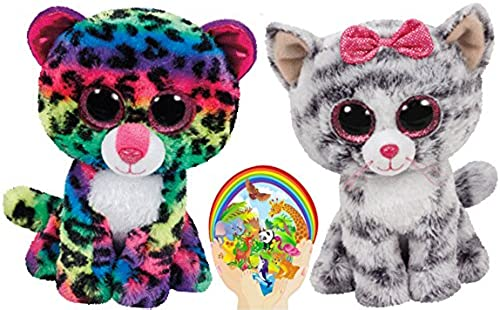 Ty Beanie Boos Kiki grau Cat and MultiFarbe Leopard Dotty Meow Friends Gift set of 2 Plush Toys 6-8 inches tall with Bonus Animals Sticker by Ty Beanie Babies