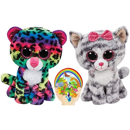 Ty Beanie Boos Kiki Grey Cat and Multicolor Leopard Dotty Meow Friends Gift  set of 2 a18c08a8182