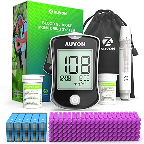 AUVON DS-W Blood Sugar Test Kit (100 Test Strips, 100 30G Lancets), High-Tech Diabetes Blood Glucose Meter (No Coding Required) with Lancing Device